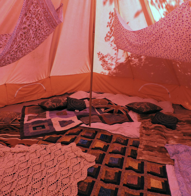 Inside the Red Tent.
